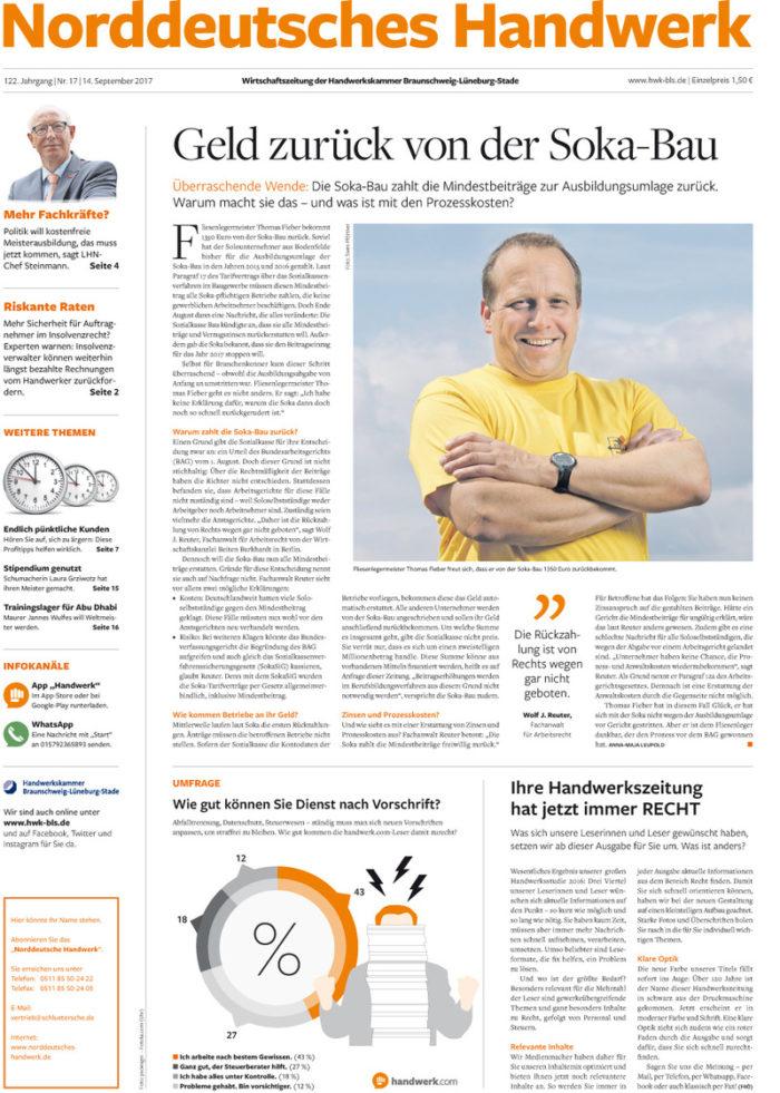Die Zeitung Norddeutsches Handwerk ist ein Produkt der Schlüterschen