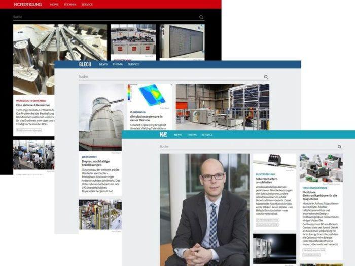 Ein Screenshot der neuen Portale in der Industriebranche der Schlüterschen.