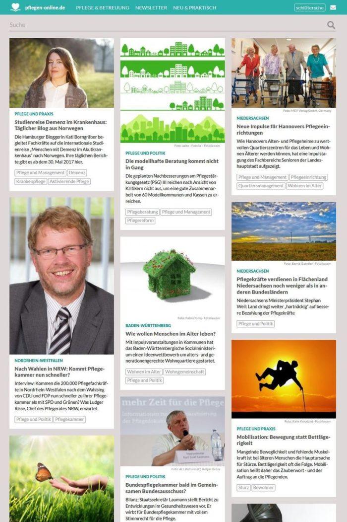 Die Webseite pflegen-online.de in der Übersicht