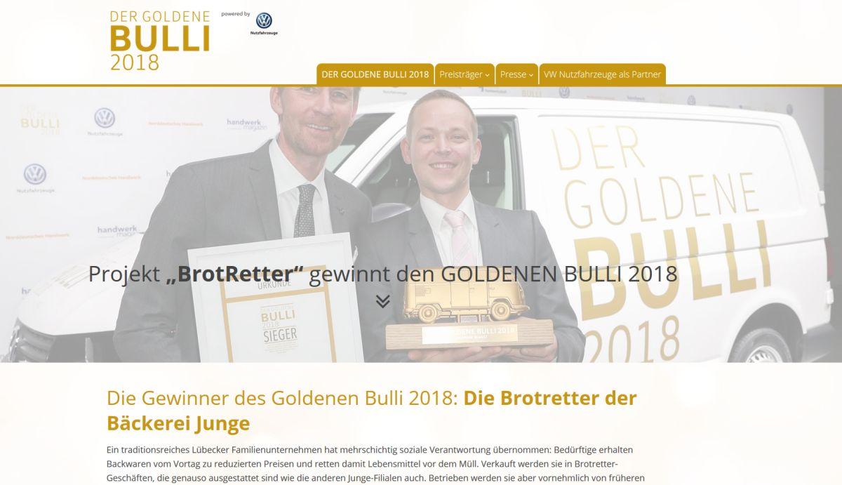 Die Webseite zum Goldenen Bulli 2018 wurde von der Schlüterschen erstellt