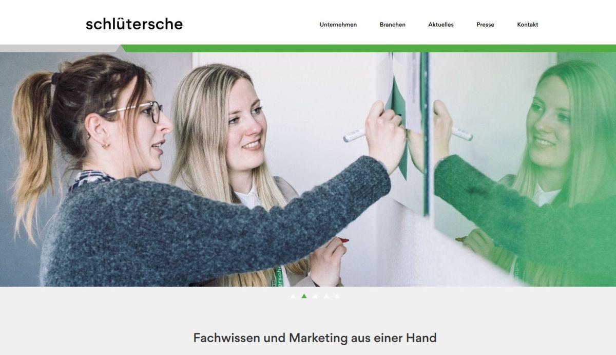 Die Unternehmens-Homepage der Schlüterschen ist im neuen Markendesign gehalten