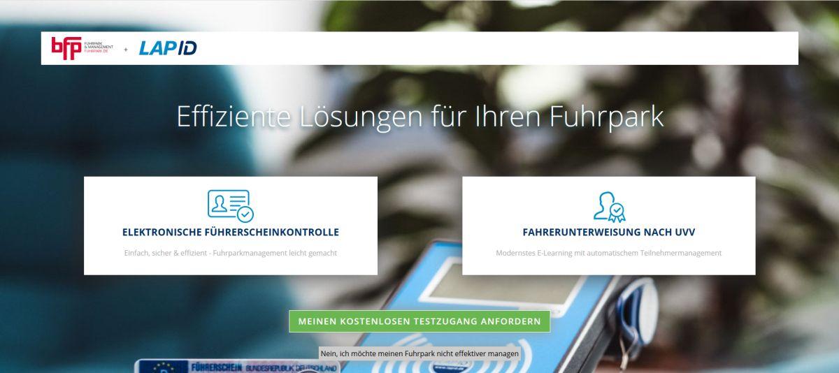 Landingpage der Kooperation bfp und LapOD